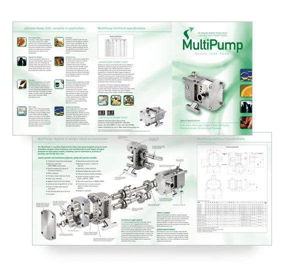 Tri-fold brochure for a Pump manufacturer