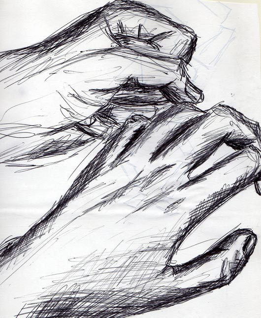 Sketches of hands - pen