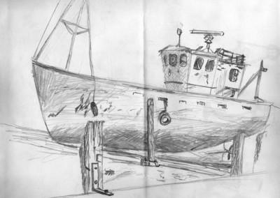 Pencil sketch of boat
