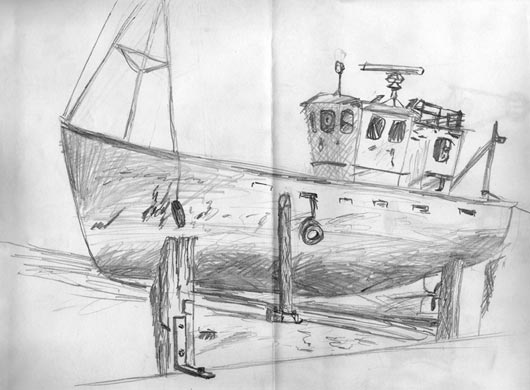 Pencil sketch of boat