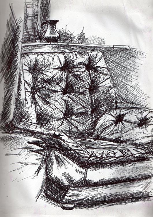 Technical pen illustration of 1970s armchair