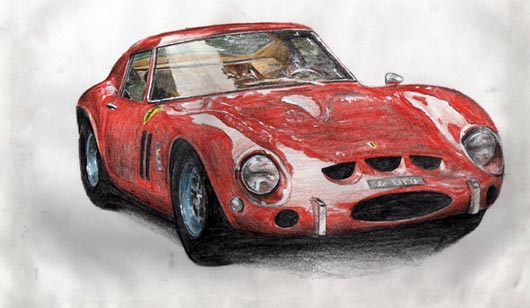 Car - coloured pencil - copy from photographic source