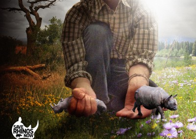 Competition entry to produce an image for 'Save Rhinos Now'. The concept is a question of choice, and man can choose if he causes the Rhino's extinction on one hand or leaves them alone and lets them recover on the other hand. The relative scale in the image emphasizes that man is in control of the choice he has. Copyright Creative Bytes.