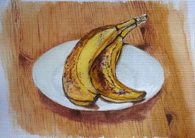 2 Bananas (Still Life, Watercolour, Oct 2014)