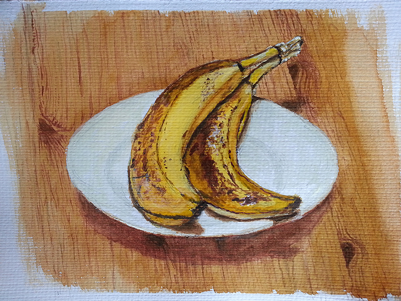 Two Bananas (Still Life, Watercolour, Oct 2014)